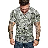 Polyester Slim t Shirts Men,Donci Bohemian v Neck Short Sleeve Casual Tees Fit Comfy Summer Daily Tops