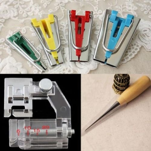 6/12/18/25mm Bias Tape Maker Sewing Awl Binder Foot Kit Set, 100% brand new without original package (Singer Bias Binder compare prices)