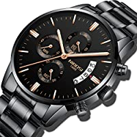 NIBOSI Men's Watches Sports Luxury Chronograph Waterproof Military Quartz Wristwatches For Men Rose Gold Hands Black Color 2309-QHMDgd