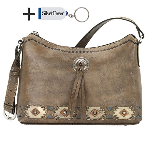 American West Leather Hobo - Zip-Top Shoulder Bag (Native Sun Charcoal)