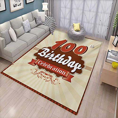 mize Door mats for Home Mat Chocolate Wrap Like Brown Party Invitation Hundred Years Celebration Door Mat Outside 5'x7' Cinnamon and Cream ()