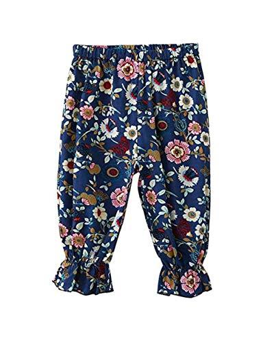 (Orz.orange Newborn Toddler Baby Boys Girls Floral Print Loose Harem Pants Cropped Elastic Waist Cotton Linen Casual Trouser (Navy Blue, 1)