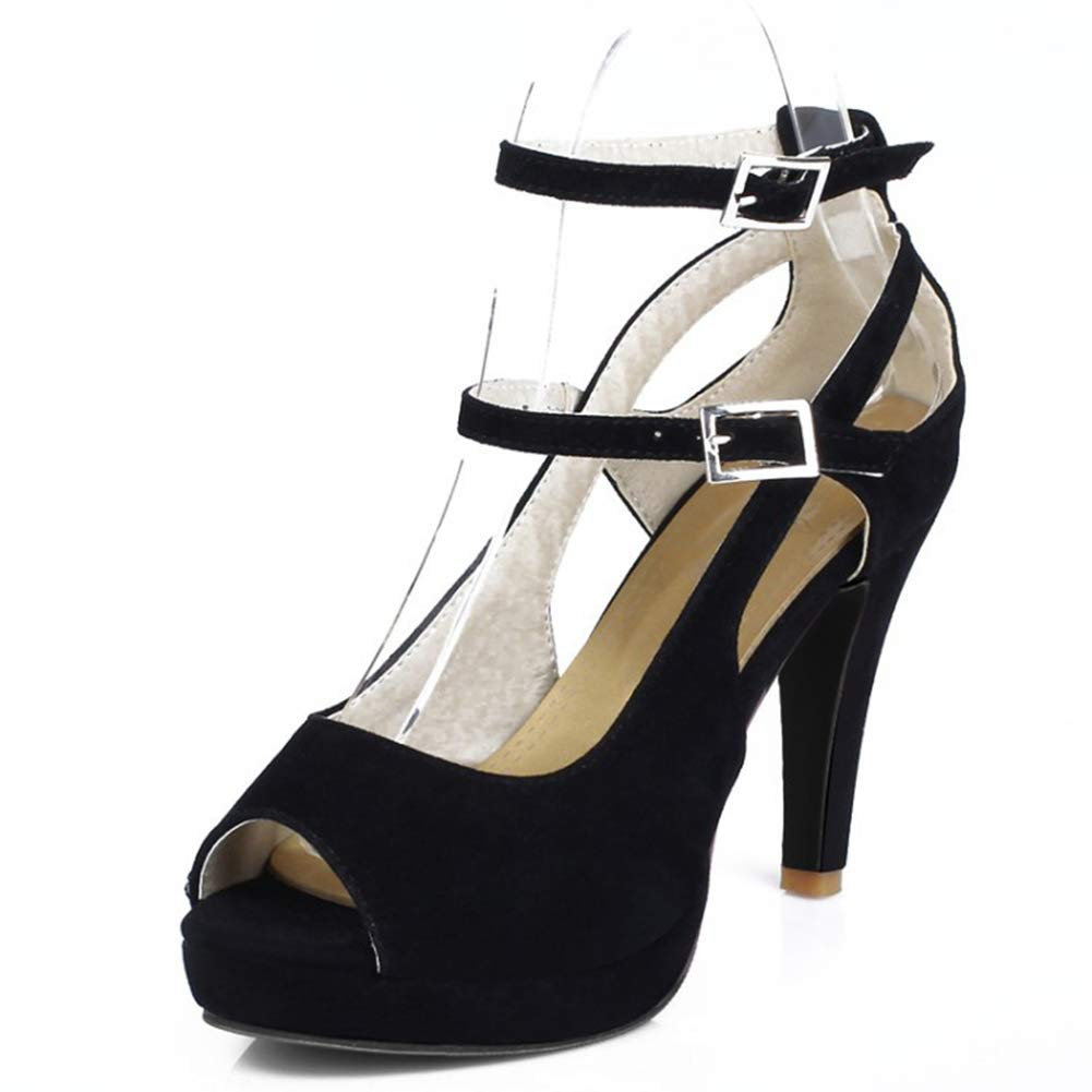 Black Women Sandals Ladie Fish Mouth with Thin Heel Sandal Comfy Peep Toe Buckle Breathable shoes Leather Casual shoes,Black,42