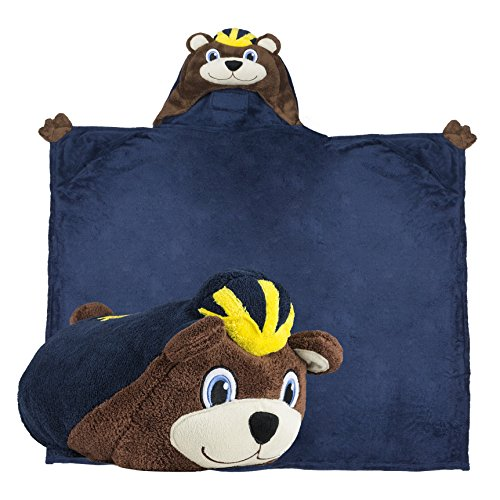 Comfy Critters Stuffed Animal Blanket - College Mascot, University of Michigan 'Wolverine' - Kids Huggable Pillow and Blanket Perfect for The Big Game, Tailgating, Pretend Play, Travel, and Much More