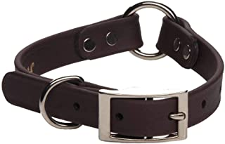 product image for Mendota Pet Durasoft Imitation Leather Collar - Center Ring Dog Collar - Made in The USA - Waterproof, Odor Resistant - Brown, 3/4 in x 12 in