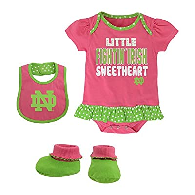 Notre Dame Fighting Irish Pink & Green Sweetheart Bib, Bootie and Onesie Set