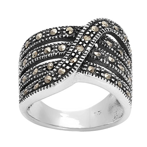 Silverly Women's .925 Sterling Silver Simulated Marcasite Oxidised Twist Multi Layered Band Ring