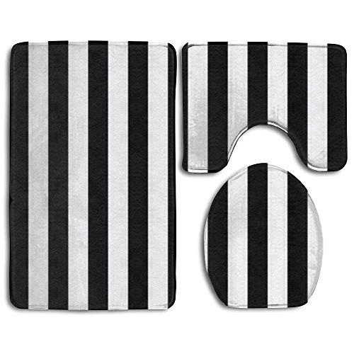 (Tunyuna Black and White Mosaic Vertical Stripes Bathroom Mats Rugs Set 3 Piece,Non Slip Flannel Extra Soft Bath Mat Contour Rug Toilet Lid Cover)