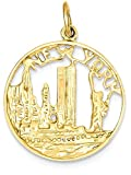 ICE CARATS 14k Yellow Gold New York Pendant Charm Necklace Travel Transportation Fine Jewelry Gift Set For Women Heart
