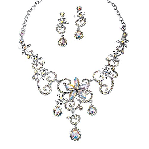 - Palm Beach Jewelry Aurora Borealis Crystal Platinum-Plated Necklace and Drop Earrings Set 18