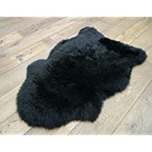 1 X Sheepskin Rug One Pelt Black Fur 2x3