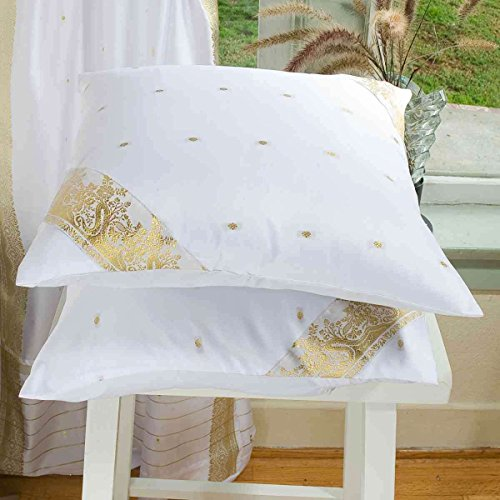 White - Set of 2 Decorative handcrafted Sari Cushion Cover, Throw Pillow Case 24