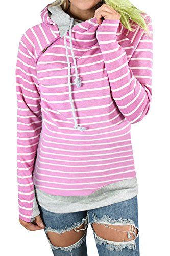 Caat Aycox Women's Hoodie-Tops-Striped Cowl Neck Drawstring Hooded Pullover Sweatshirt With Pockets Rosered-M Cowl Neck Striped Sweater