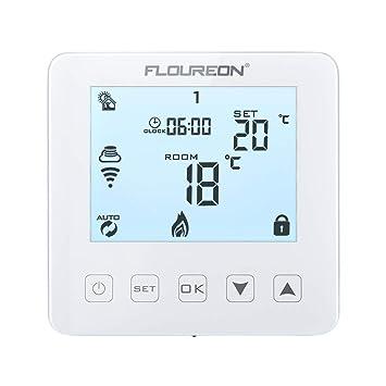 FLOUREON Termostato para caldera de gas con WiFi, termostato hidráulico con LCD Control táctil táctil retroiluminado con aplicación móvil Compatible ...