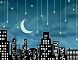 JP London PMUR2131 Peel and Stick Removable Wall Decal Sticker Mural, Sinatra Mad Men Twilight Fly Me To The Moon Skyline, 4 x 3-Feet