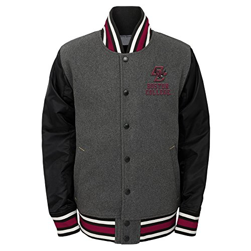 Outerstuff NCAA NCAA Youth Boys Letterman Varsity Jacket, Charcoal Grey, X-Large (18)