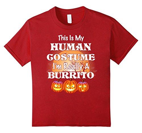 Burrito Costume Girl (Kids My Human Costume Burrito shirt Gift Halloween Funny 8 Cranberry)