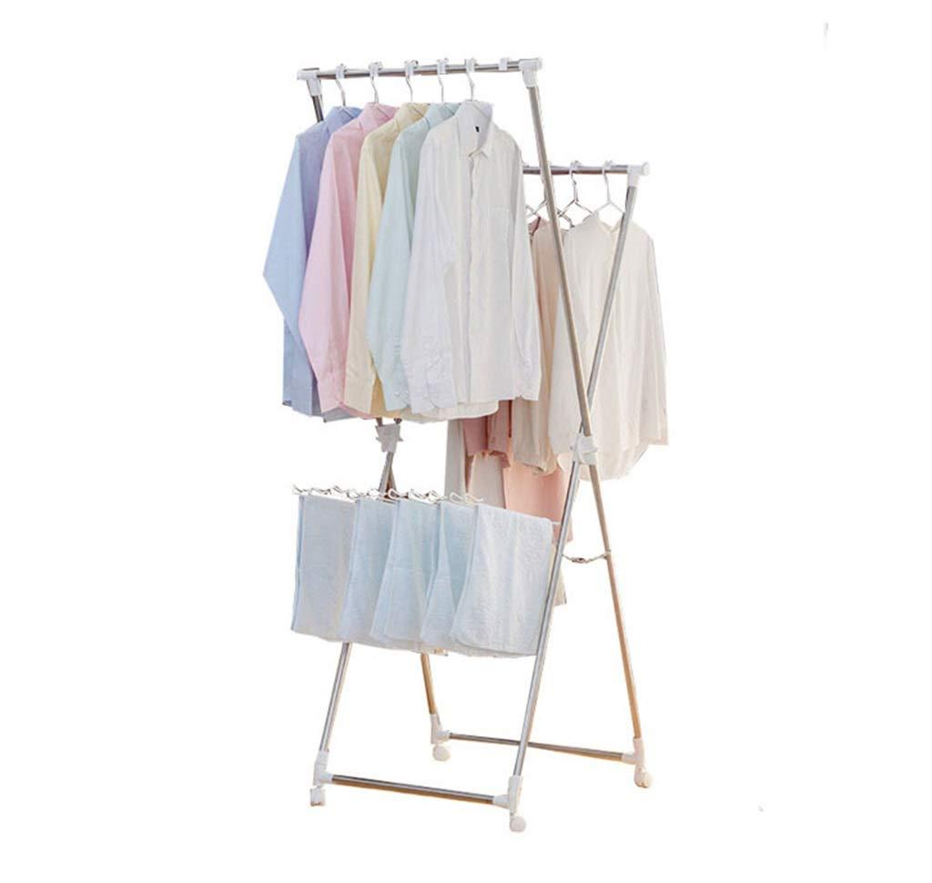 バルコニー衣類レールプーリープルアウト衣類乾燥機とフロアスタンディングステンレス乾燥ラック B07KXRH3G7