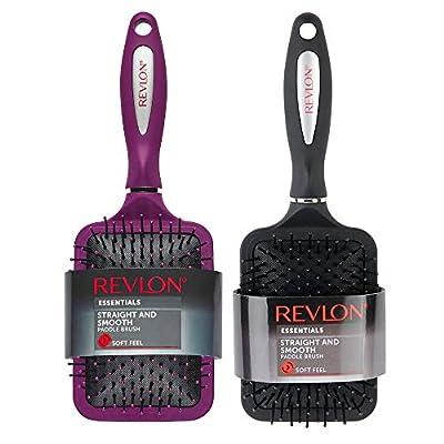 Revlon Straight & Smooth Soft Touch Paddle Hair Brush Set, Black + Berry