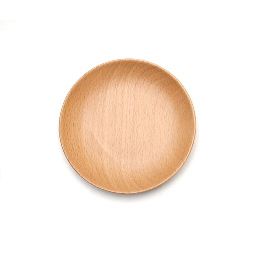 XDOBO Natural Beech Wood Serving Dishes - Handmade Mini Dessert Plates - Safe and Eco-friendly - Pack of 1 (1)