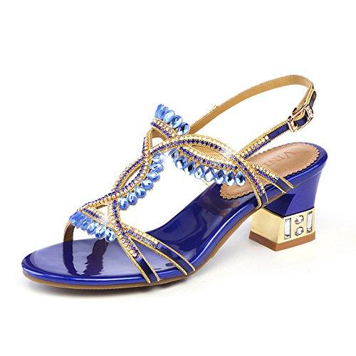 ZPFME Zapatos De Tacón De Aguja De Las Mujeres Del Estilete Del Dedo Del Pie Abierto Tobillo Tacón Bloque Boda Zapatos De Baile De La Corte Blue
