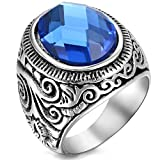 men class rings - Flongo Men's Vintage Stainless Steel Statement Ring Celtic Knot Blue Glass Class Band, Size 11