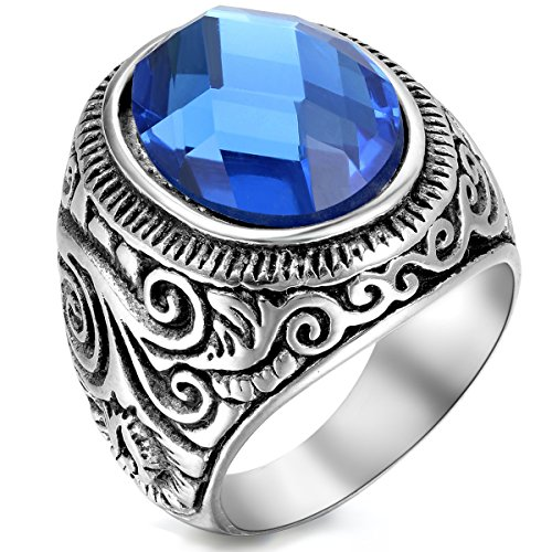 Flongo Men's Vintage Stainless Steel Statement Ring Celtic Knot Blue Glass Class Band, Size 13