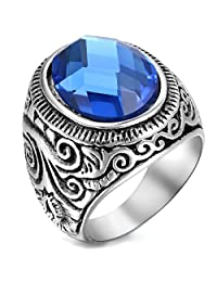 Flongo Men's Vintage Stainless Steel Statement Ring Celtic Knot Blue Glass Class Band