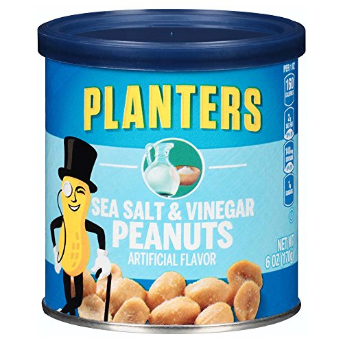 Planters Flavored Peanuts, Sea Salt & Vinegar, 6 Ounce Canister (Pack of 8)