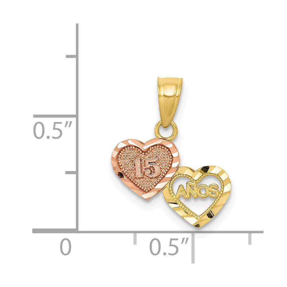 10k Two-tone Gold Small Sweet 15 Charm