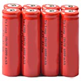 Simply Silver - Rechargeable Battery - 8x 4.2V 18650 Li-ion 6000mAh Red Rechargeable Battery for LED Flashlight Torch