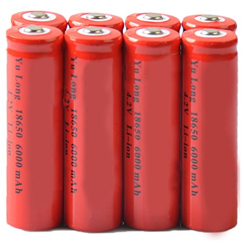 Simply Silver - Rechargeable Battery - 8x 4.2V 18650 Li-ion 6000mAh Red Rechargeable Battery for LED Flashlight Torch by Simply Silver
