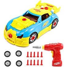 Take Apart Car with Tool Drill, Magicfly Take-A-Part World Racing Car Toy for Kids of ages 3+, 30 Pieces