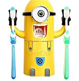 Minion Toothpaste Dispenser - Kids Toothbrush Holder - Minion Stickers Enclosed