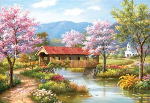 A Covered Bridge in Spring 2000 pc Jigsaw Puzzle - Spring theme- by SunsOut