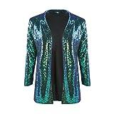 IRISIE Women Sparkle Sequins Open Front Long Sleeve Blazer Jacket (Large, Green)