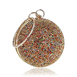 Ball Shape Clutch Purse With MultiColor Rhinestone & Ring Handle