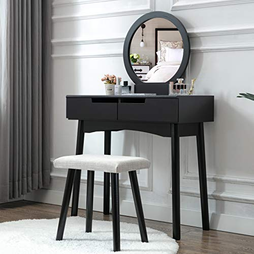 Dresser Set Round - HONBAY Vanity Table Set with Round Mirror 2 Large Sliding Drawers Makeup Dressing Table with Cushioned Stool, Black
