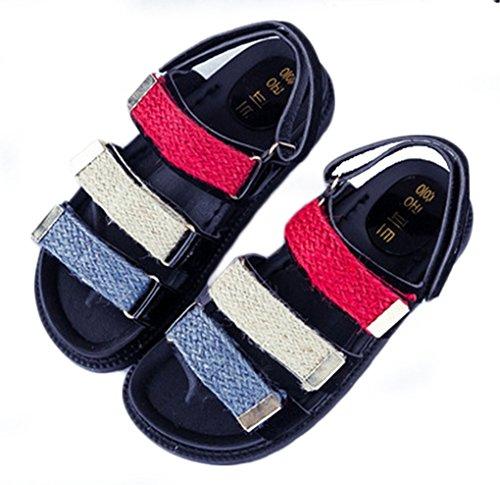 NEWZCERS Verano grueso sandalias de velcro para las mujeres, sandalias de color plano de juego de deportes Rojo