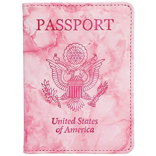(GDTK Leather Passport Holder Cover Case RFID Blocking Travel Wallet (D-Pink))