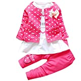 0-3 Years Old, Internet Baby Girls Outfit Clothes Dot Bowknot Cardigan Coat+T-shirt+Long Pants (12 Month, Hot Pink)