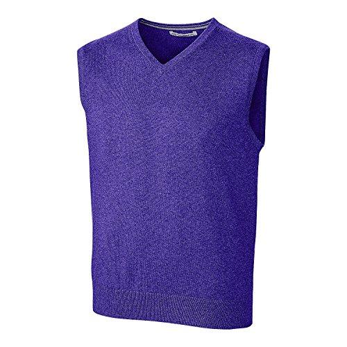 Cutter & Buck Men's Cotton-Rich Lakemont Anti-Pilling V-Neck Sweater Vest, College Purple XXX-Large