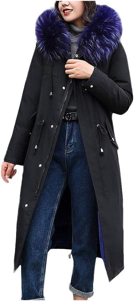 xue binghualoll Femmes Manteau à Capuchon en Fausse Fourrure Manteau à Capuchon Long Manteau à Poches Bleu