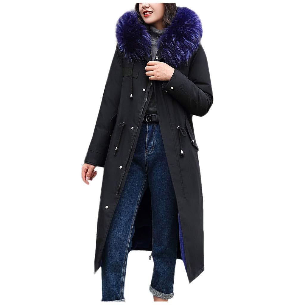 Allywit- Women Outerwear Faux Fur Hooded Button Coat with Pocket Long Solid Warm Jackets Windbreaker Coats Blue by Allywit- Women