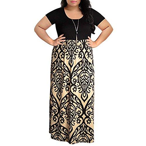 Pongfunsy Womens Summer Dress Women Striped Long Boho Dress Lady Beach Sundrss Maxi Dress 2019 Black (4XL, Khaki 9)