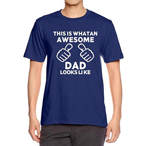 Bluestercool Hommes Été Lettres Imprimé Manche Courte Col Rond T-shirt pour Fête des pères Marine