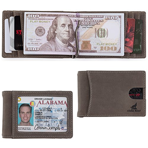 Mens Slim Leather Bifold Wallet: RFID Money Clip Billfold & Credit Card Holder ()