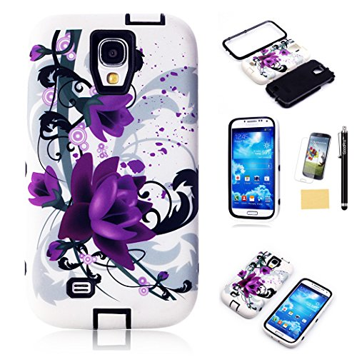 S4 Case, Galaxy S4 Case, GoodPro™ Powerful Protection [3IN1 Art Flower Design] (Black), Hybrid Hard Soft Durable Bumper Case Armor Case Back Cover Case for Samsung Galaxy S4, Included (Screen Protector, Stylus and Cleaning Cloth), Samsung Galaxy S4 Case