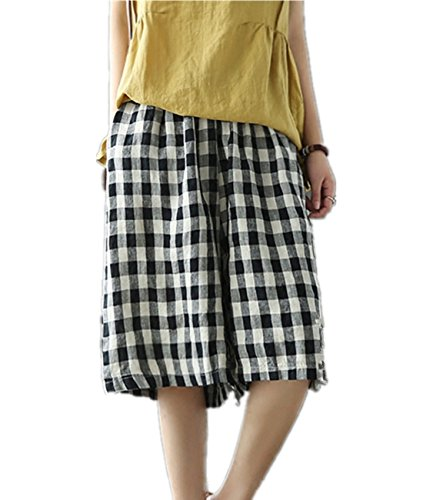 Womens Cropped Wide Leg Linen Pants (Yesno PD7 Cropped Knee Pants Wide Leg 100% Linen Plaid Pants Elastic Waist With Drawstring Low Crotch)