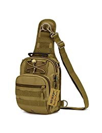 Protector Plus Tactical Sling Pack Backpack Military Shoulder Chest Bag (Brown)
